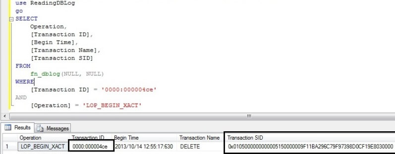 Find the transaction SID of the user