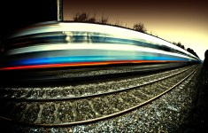 fisheye-speeding-train