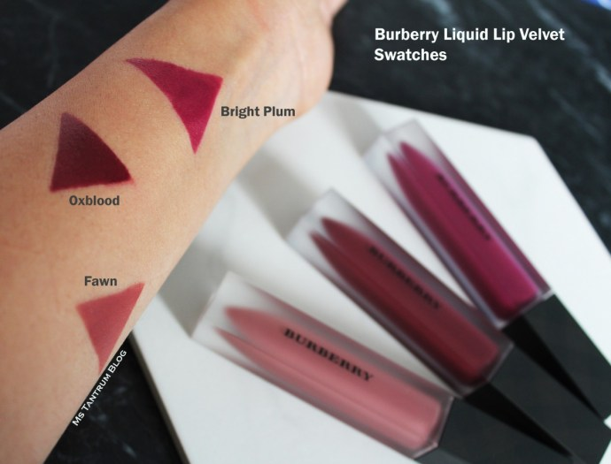 Burberry Liquid Lip Velvet Swatches on Ms Tantrum Blog