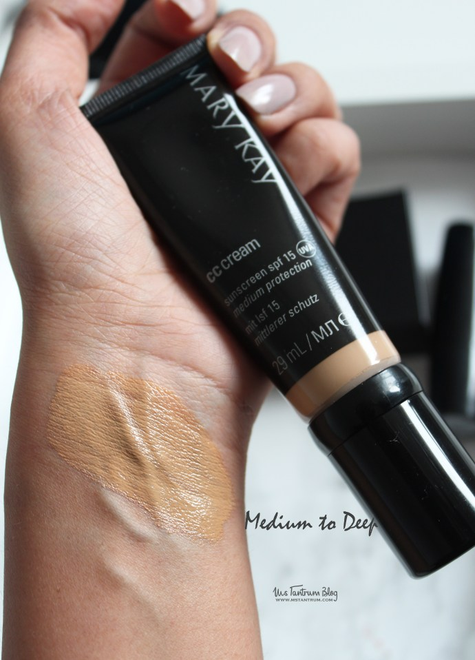 Mary Kay CC Cream Medium to Deep Swatch on MS Tantrum Blog