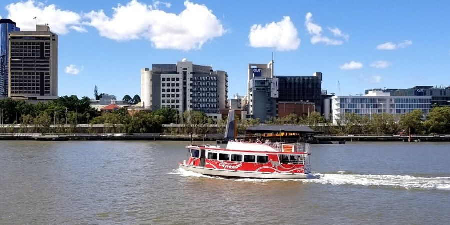 Brisbane's CityHopper is a free ferry that takes you from North Quay in CBD to Sydney Street in New Farm
