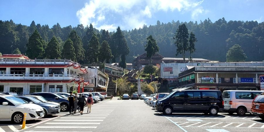 The retail and restaurant area in Alishan Forest Recreation Area.