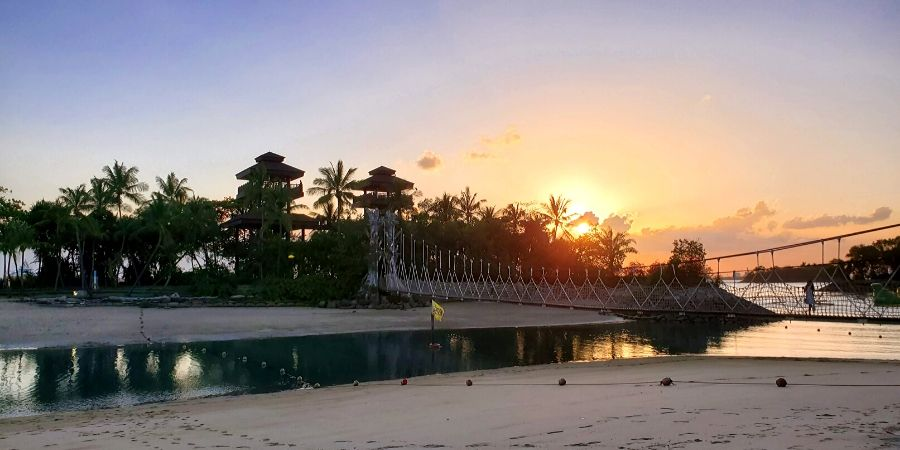 Sunset at Palawan Beach on Sentosa Island