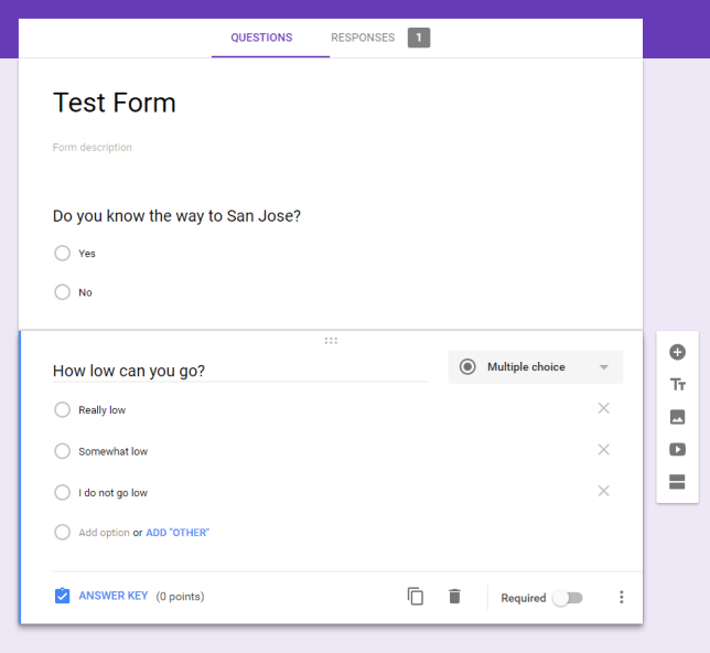 Test Google Forms Quiz
