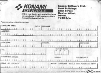 Konami Software Club Newsletter - Cupón 2