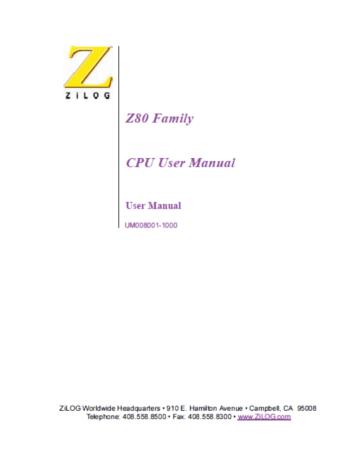 Z80 Family CPU User Manual - Portada