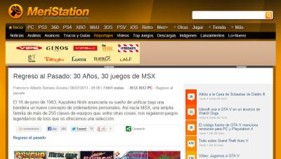 Meristation 30 juegos MSX