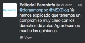 Tweet de Editorial Paraninfo