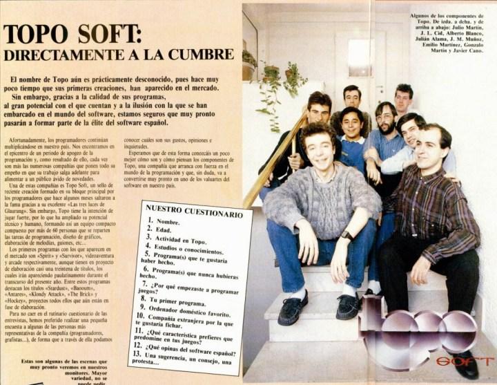 Jose Manuel Muñoz, con barba, en el centro de la foto del equipo de Topo Soft. Artículo publicado en Microhobby #125
