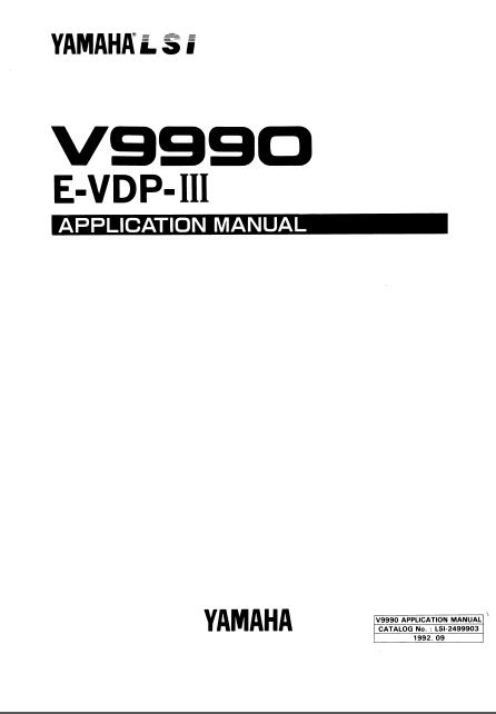 Manual: Yamaha V9990 Application Manual