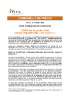 INRS Communiqué presse Mise en garde dispositifs dits anti-COVID-19 2020 11 19