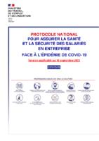 Protocole national santé sécurité salariés entreprise 2021 09 10
