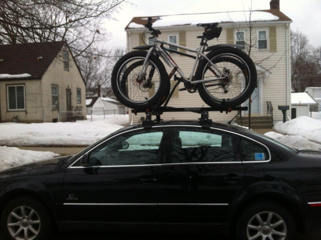 fat bike on roof rack mountain bike