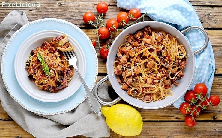 23, Linguine con polpo, pomodorini e olive al profumo di limone di Sara