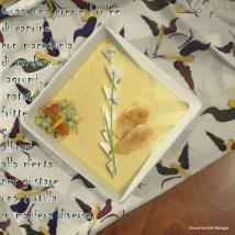 31. quasi una crême brulée di caprino, con macedonia do verdure e agrumi, patate fritte e albumi alla menta di Sonia