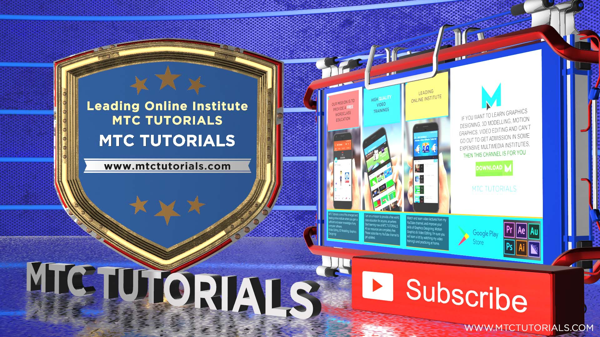 Subscribe button and bell icon intro Free Adobe After Effects Templates mtc tutorials