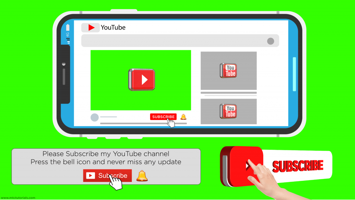 Youtube Subscribe Button And Bell Icon Full Set | PNG, AE, AI, Green Screen