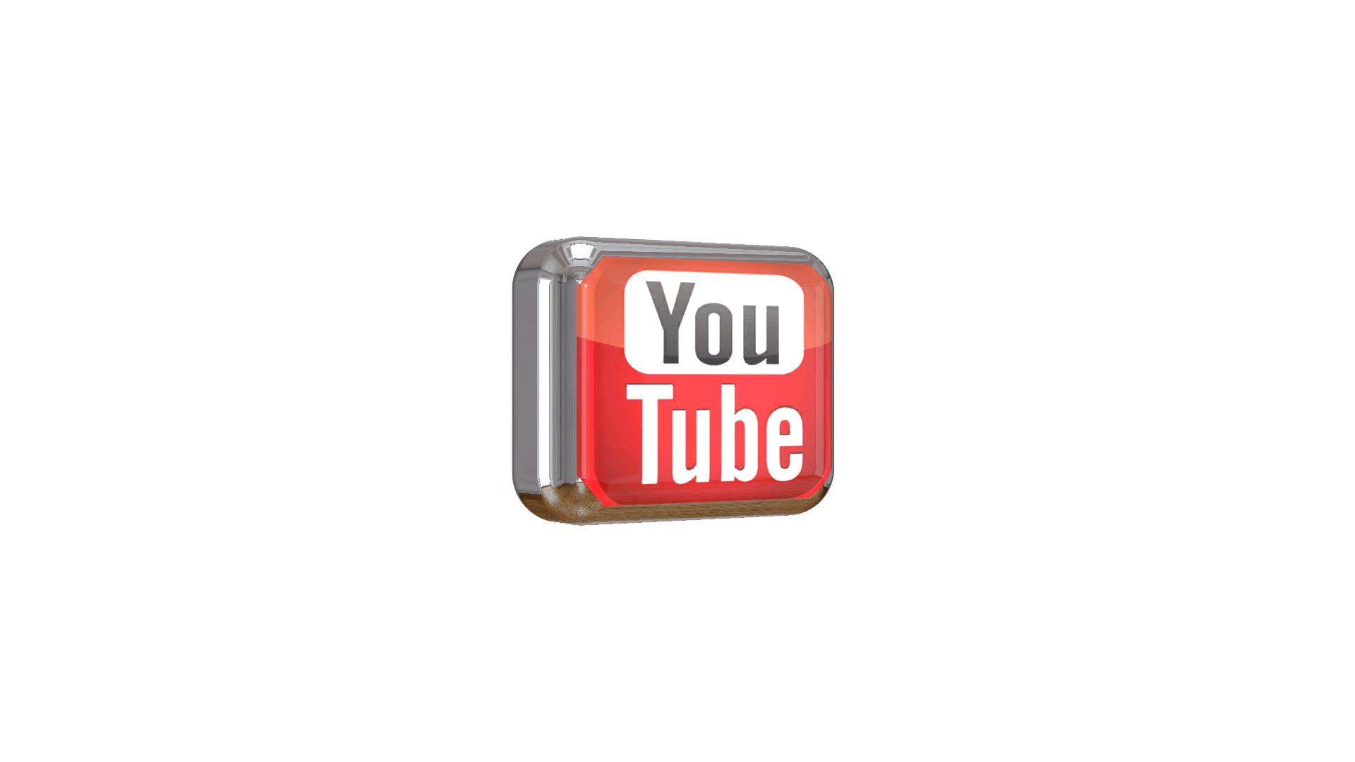 YouTube 3D Shiny Logo Free PNG High Quality