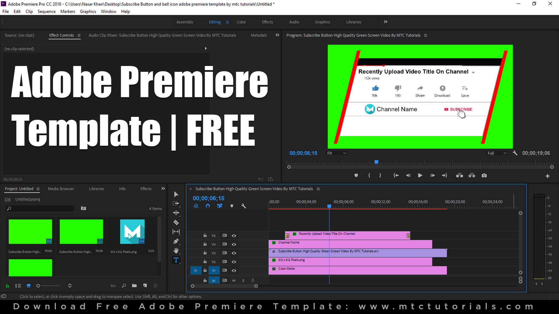 Download Free Subscribe Button and Bell Icon Intro - Adobe Premiere Project