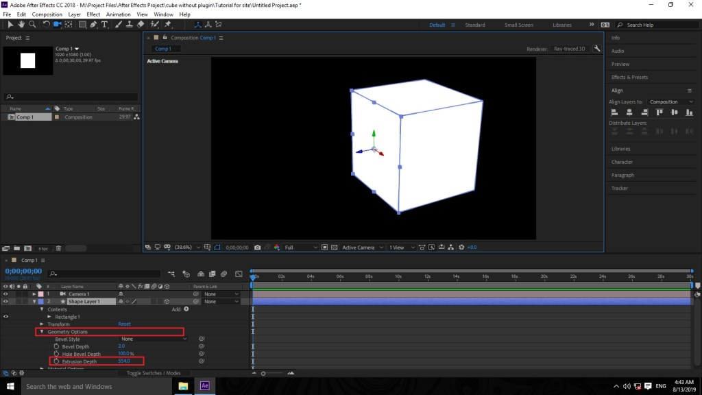 Creating 3d animated cube in adobe after effects using the ray traced render option by mtc tutorials