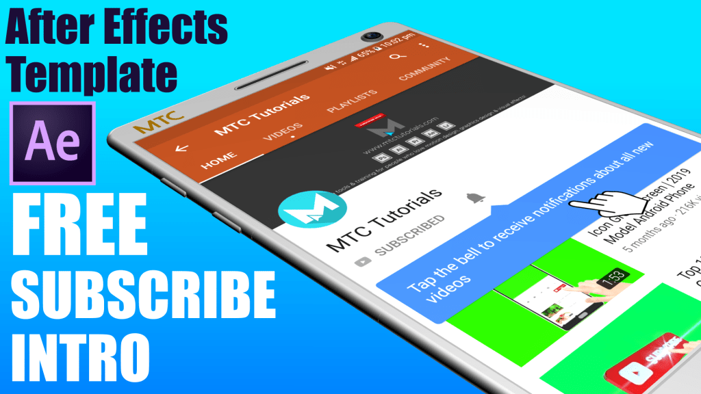 Subscribe Button Intro Free Adobe After Effects Intro by mtc tutorials