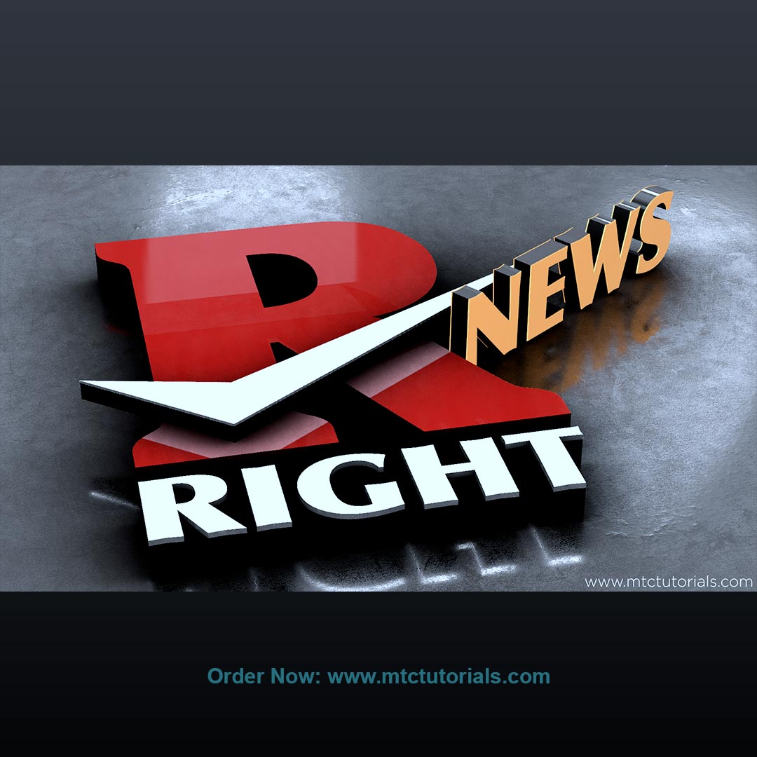 Right News 3D logo design by mtc tutorials
