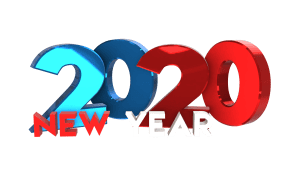 Colorful 3D Happy new year 2020 png transparent images free