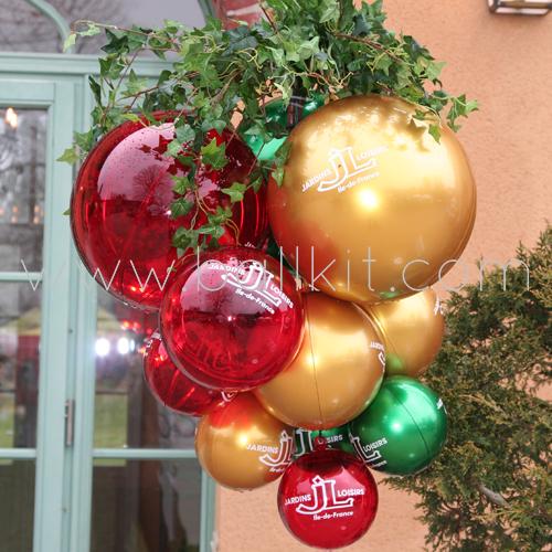 """Grappes de boules diverses couleurs personnalisées par tampographie pour """"Jardins Loisirs"""""""
