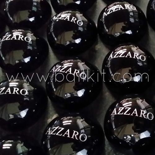 Bulles opaques noires personnalisées par tampographie, parfums Azzaro