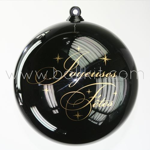 Boule opaque noire personnalisée par tampographie