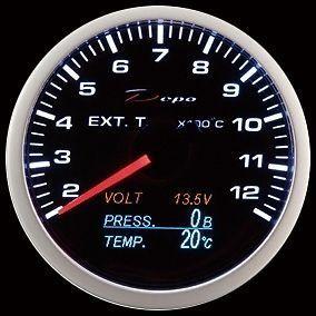 Manometro 4in1 - Termocoppia + Voltmetro + Press. Olio + Temp. Olio - Depo Racing - 60mm