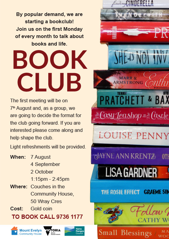 A book club is starting in Mt Evelyn on August 7