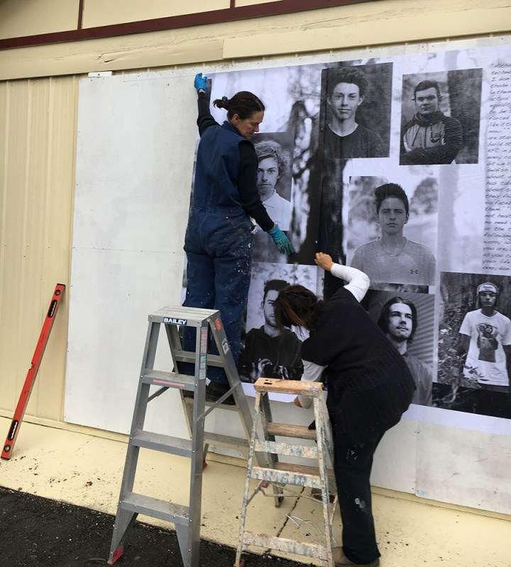 Installing the mural