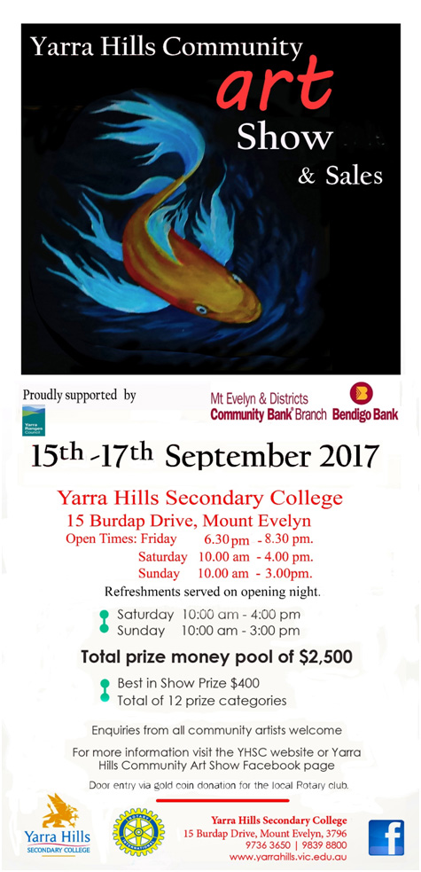 Yarra Hills Community Art Show flyer