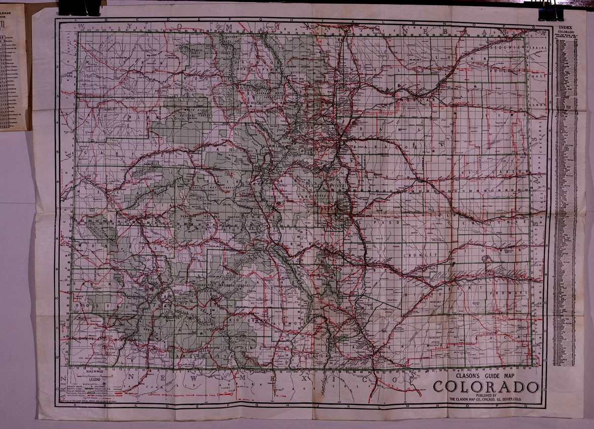 Colorado pocket maps  Clason Map Company and other publishing     4 color map  Dimensions of folding sheet  27 inches across by 21 inches in  height  Condition  very good  4 Colorado city street maps on interior pages