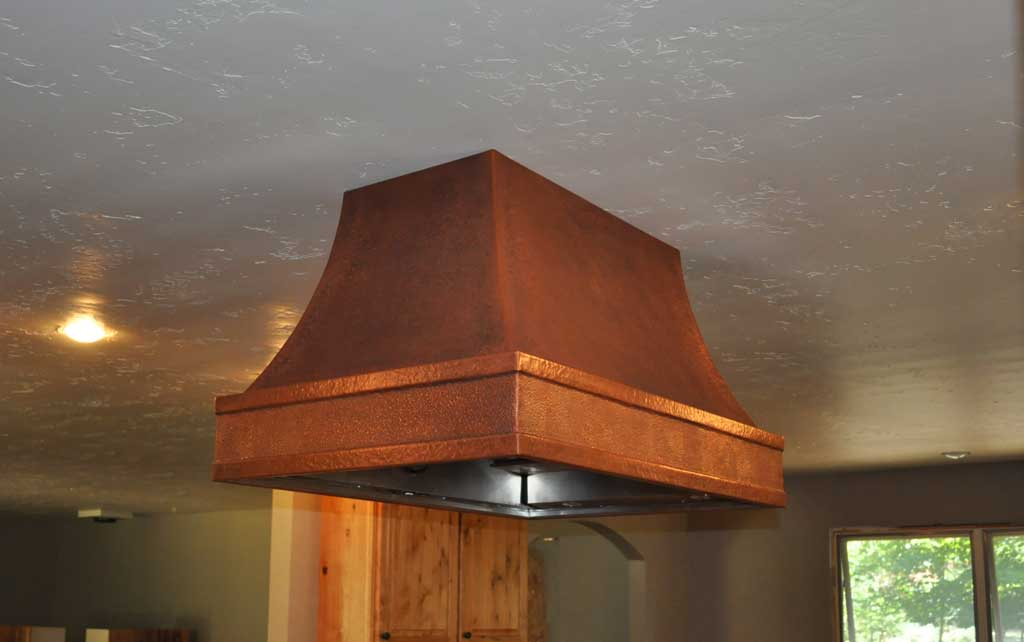 Custom Copper Island Range Hood Grant Creek Hand Hammered