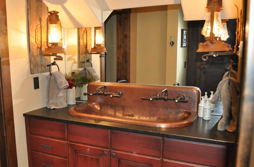 copper trough sink-high back-built to order - mountain copper
