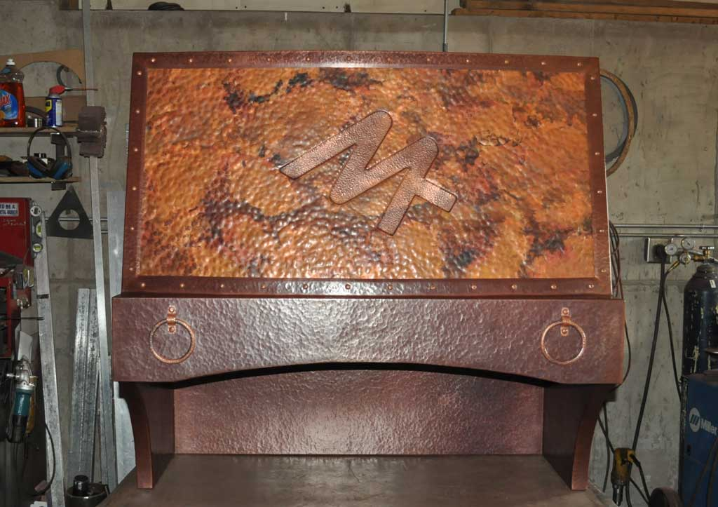 Branded Copper Range Hood Mountain Copper Creations