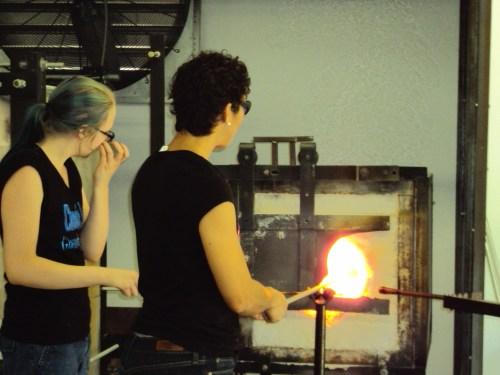 Terri Sigler blowing glass
