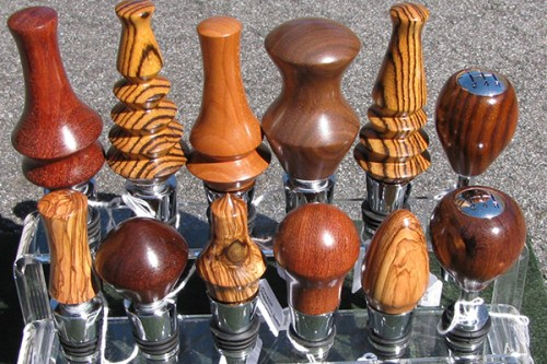 Asheville woodturner - wooden wine stoppers