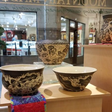 Carved Pottery - by Asheville artist Lin Barber