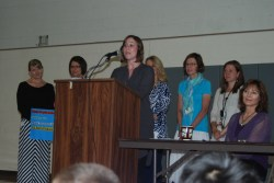 Left to right (When all teachers are visible): Heidi Jorgenson--Tobey Black--Mary Hunt--Julie Vowinkel--Courtney Voss--Kris Gritzmacher (principal)