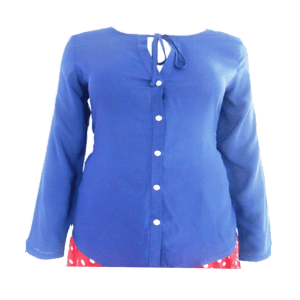 Women's Long Sleeve Contrast Buttoned Dress