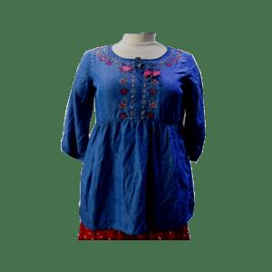 Women's 3/4 sleeve Embroidered Tencel  Dress