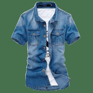 Men's Knit Lined Denim Short Sleeve Shirts