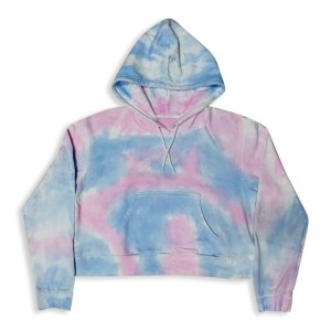 Ladies Fleece Hoodie with Tie Dye wash effect