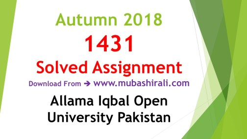 1431 Solved Assignments autumn 2018