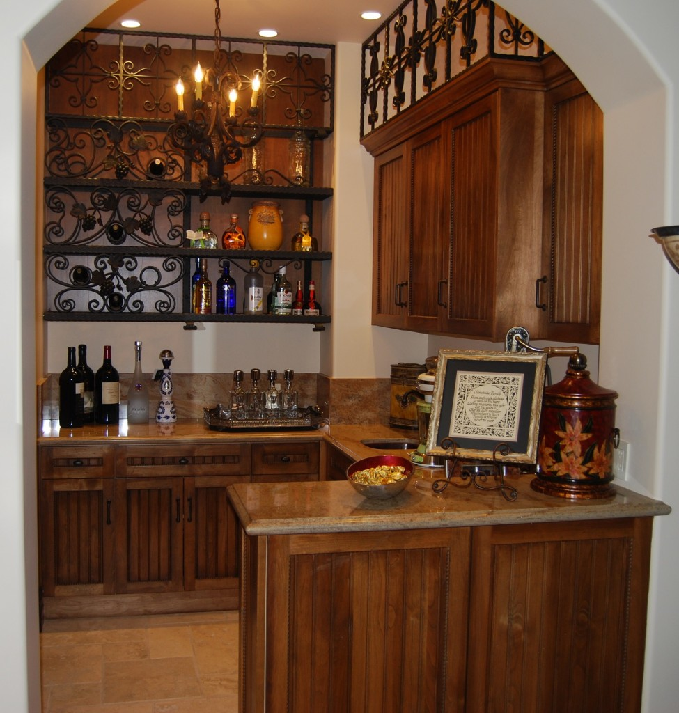 Custom Bar Cabinets With Wrought Iron Design Detail