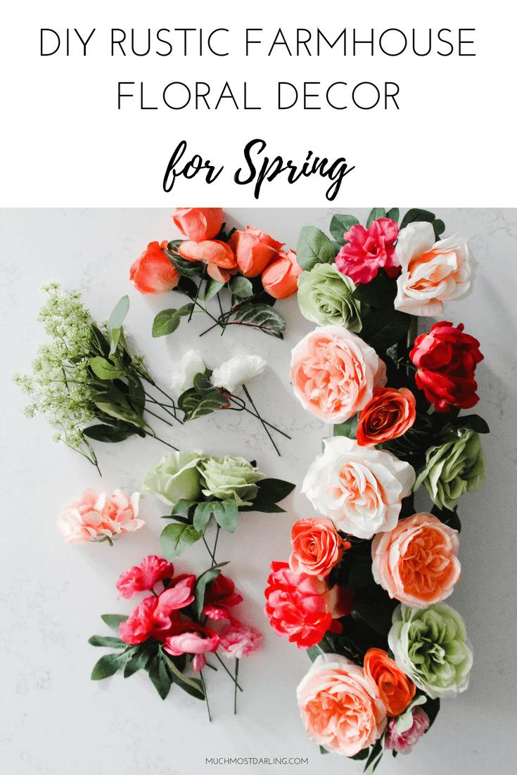DIY Spring Rustic Farmhouse Floral Centerpiece