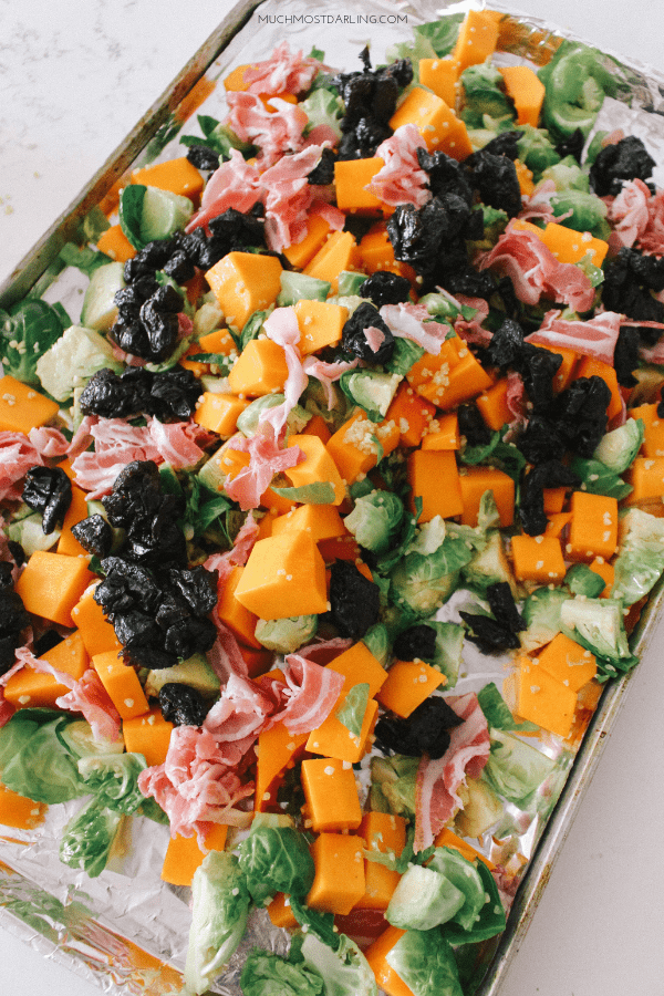 Gluten free recipe: Roasted Fall Veggie Sheet Pan with Prunes + Proscuitto